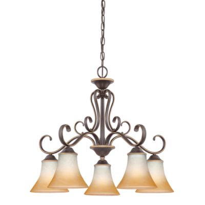 Quoize® l Duchess 5-Light Chandelier with Champagne Marble Glass in Palladian Bronze Finish