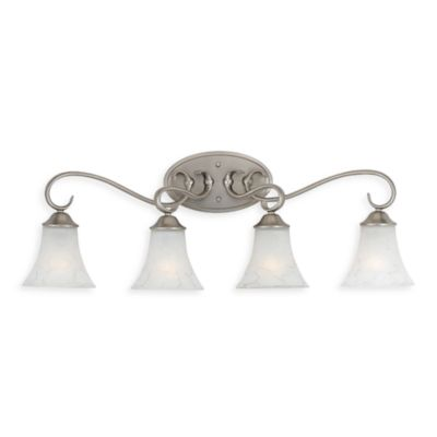 Quoizel Duchess 4-Light Antique Nickel Bath Fixture w/Grey Marble Glass