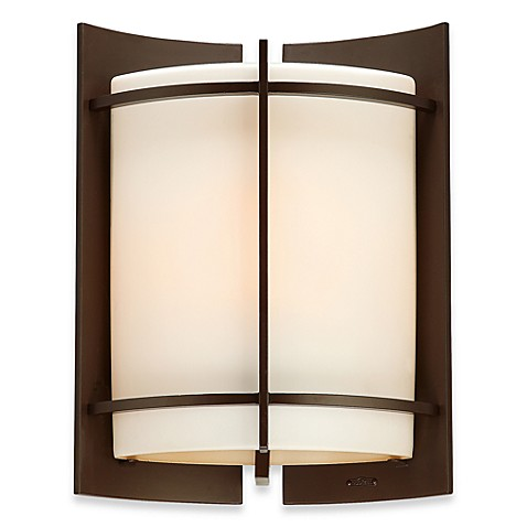 Nolan 1-Light Outdoor Fixture with Opal Etched Amber Glass and Western Bronze Finish