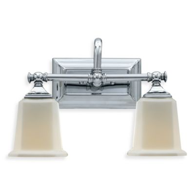 Quoizel® Nicholas 2-Light Polished Chrome Bath Fixture w/Opal Etched Glass Shades