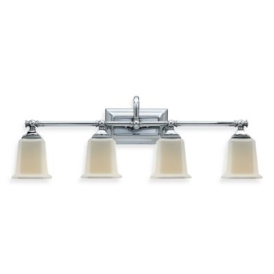 Quoizel® Nicholas 4-Light Polished Chrome Bath Fixture w/Opal Etched Glass Shades