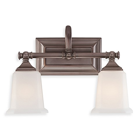 Quoizel®  Nicholas 2-Light Bath Fixture in Harbor Bronze with Opal Etched Glass
