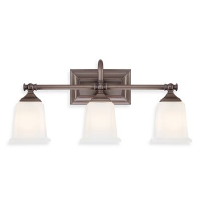 Quoizel® Nicholas 3-Light Bath Fixture in Harbor Bronze with Opal Etched Glass