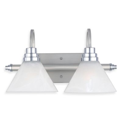 Quoize® l Astoria 2-Light Bath Fixture with Faux Etched Alabaster Glass and Millenia Finish