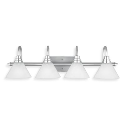 Millenia Finished 4-Light Astoria Bath Fixture with Faux Etched Alabaster Glass