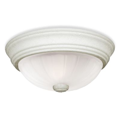 Flush Mount 3-Light Fixture with Melon Glass and Fresco Finish