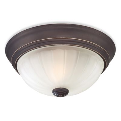 Quoizel 1-Light Flush-Mount with Melon Wedge Imprint & Palladian Bronze Finish