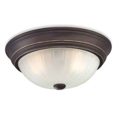 Quoizel® Melon 2-Light Flush Mount Fixture with Stamped Dome in Palladian Bronze