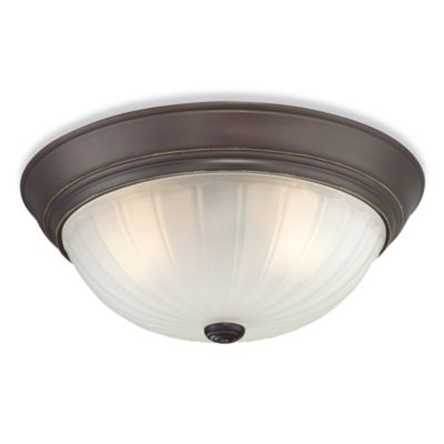 Flush Mount Palladian Bronze 3-Light Fixture with Melon-Wedge Glass Shade