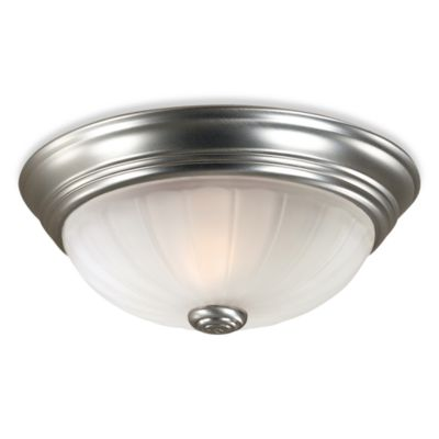 Quoizel® 3-Light Flush-Mount with Melon Wedge Embossed Glass and Empire Silver Finish
