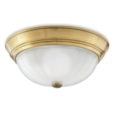 Quoizel® 3-Light Flush Mount with Stamped Melon Wedge Glass and Antique Brass Finish