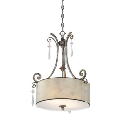 Quoizel® Kendra Mottled Silver Finish 2-Light Pendant with Pearlescent Mica Shade