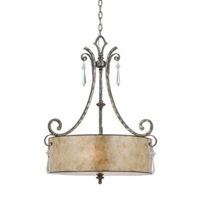 Kendra Pendant Light with Mottled Silver Finish Oyster Mica Shade