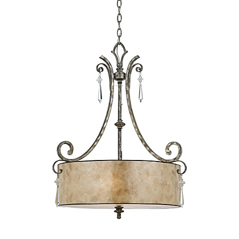 Quoizel® Kendra Mottled Silver Finish 4-Light Pendant with Oyster Mica Shade