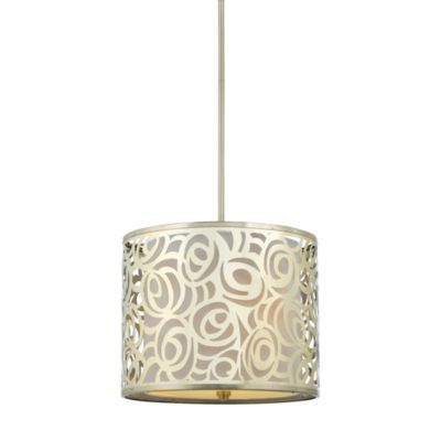 Layered Josslyn Style Pendant Light with Rose Patterned White Silk Shade