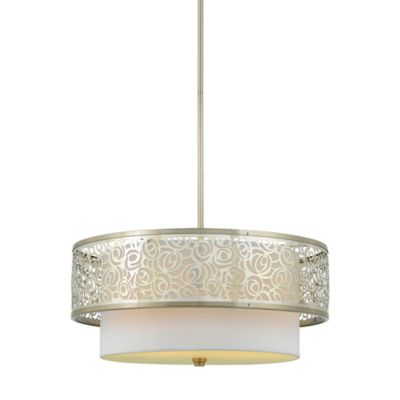 Quoizel® Josslyn 3-Light Layered Pendant with Laser-Cut Metal and Silk Shades
