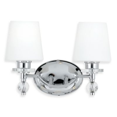 Quoizel® Hollister Collection Polished-Chrome 2-Light Bath Fixture w/White Etched Glass Shade