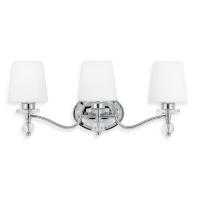 Quoizel® Hollister Collection Polished Chrome 3-Light Bath Fixture w/White Etched Glass Shade
