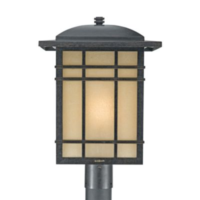 Hillcrest 1-Light Outdoor Fixture in an Imperial Bronze Finish with Opaque Linen-Glass Shades