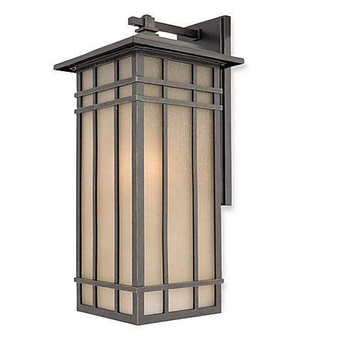 Modern Glass and Bronze Hillcrest Outdoor Wall Light Fixture