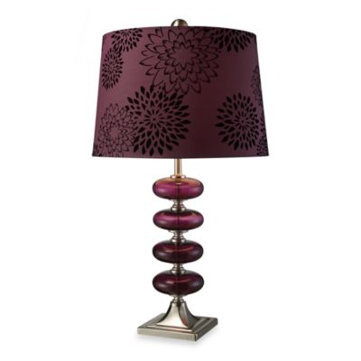 Dimond Lighting Vidrio Brushed Steel and Plum Brown Glass Table Lamp
