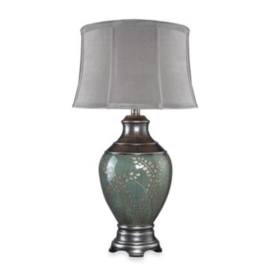 Dimond Lighting Hand Painted Pinery Green Ceramic Table Lamp