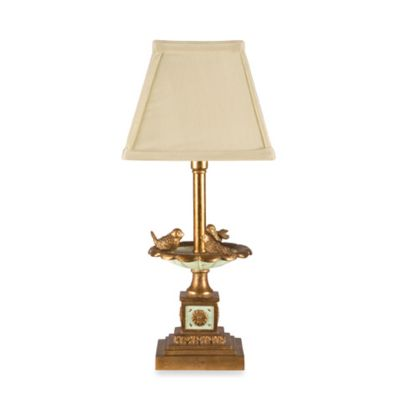 Feathered Friends Candlestick Table Lamp With Linen-Look Shade