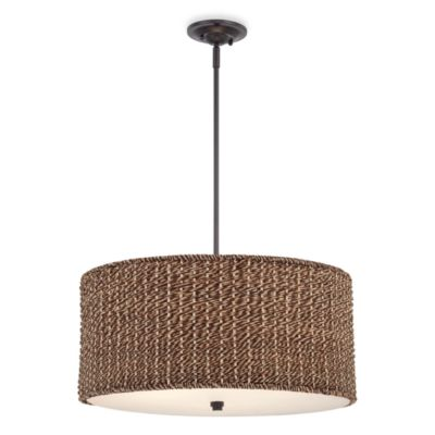 Bradbury Drum-Shaped Ceiling Light with Grass Rattan Shade