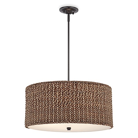 buy bradbury drum shaped ceiling light with grass rattan shade from bed bath beyond