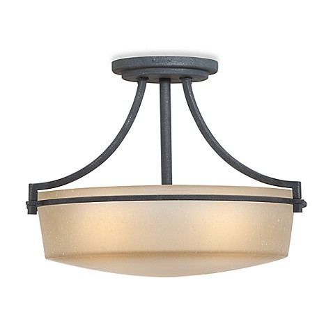 Caitlyn Semi-Flush Ceiling Light with Amber Seedy Glass