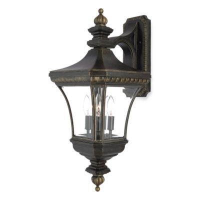 Top-Mounted 3-Light Devon Outdoor Wall Light in Imperial Bronze