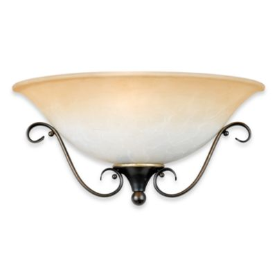 Duchess 1-Light Wall Fixture with Champagne Marble Glass and Palladian Bronze Finish by Quoizel