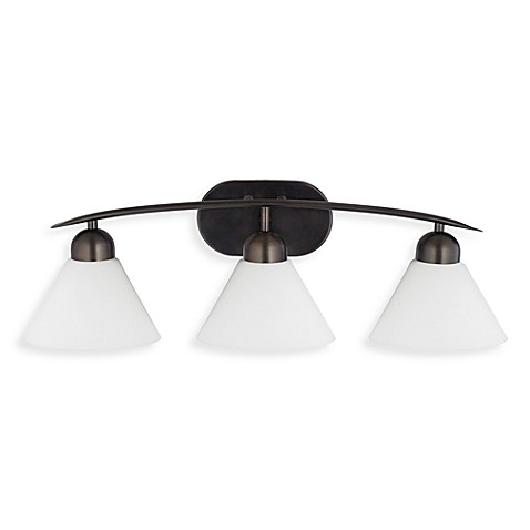 Demitri 3-Light Bath Fixture in Harbor Bronze and Opal Etched Glass