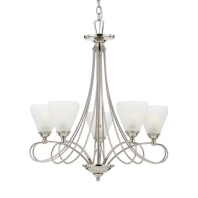 Imperial Silver/White Frosted Glass 5-Light Denmark Chandelier