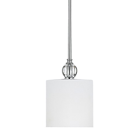 Downtown 1-Light Mini Pendant with Polished Chrome Finish and Opal Etched Glass Shade