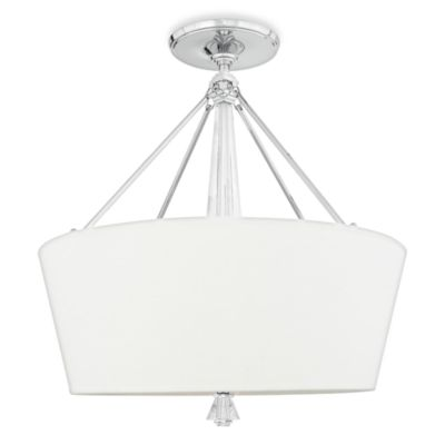 Quoizel® Deluxe 5-Light Pendant with Cream Linen Drum Shade and Polished Chrome Finish