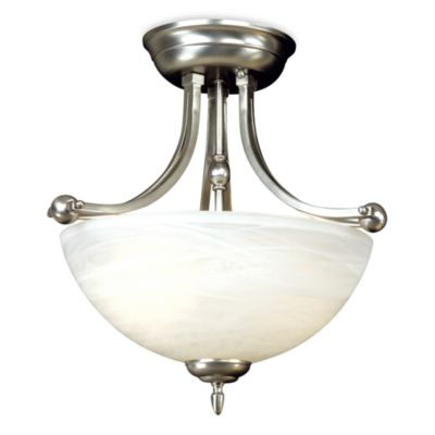 Delray Semi-Flush Mount Light Fixture With Silver Finish and Glass Shade