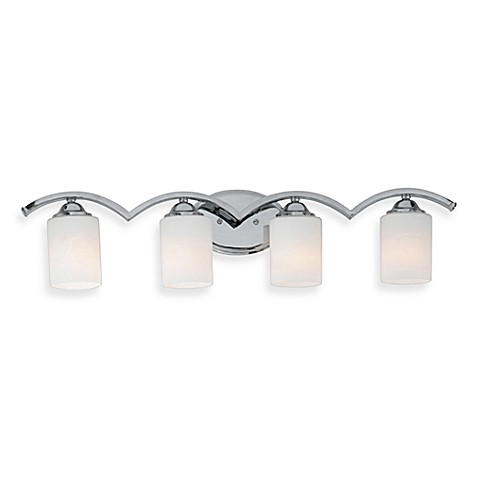 Quoizel® Ellis 4-Light Bath Fixture w/Polished Chrome Finish and Etched-Glass Shades