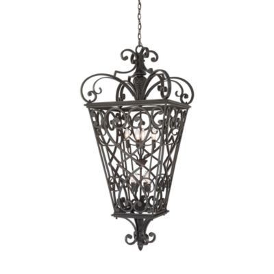 Black Fort Quinn 60-Watt 8-Light Hanging Outdoor Fixture