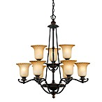 Quoizel Genova 9-Light Stonehedge Dual Finish Chandelier with Twisted Amber Glass Shades