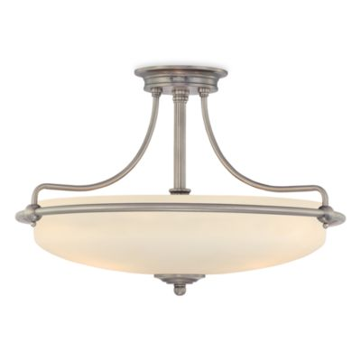 Griff in 4-Light Semi-Flush Mount Light with Antique Nickel Finish and Opal Etched Glass Shade
