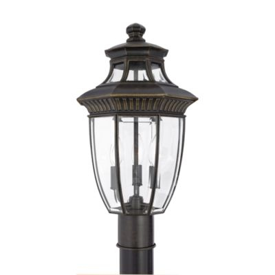 Georgetown 3-Light Outdoor Fixture with Imperial Bronze Finish and Beveled Glass