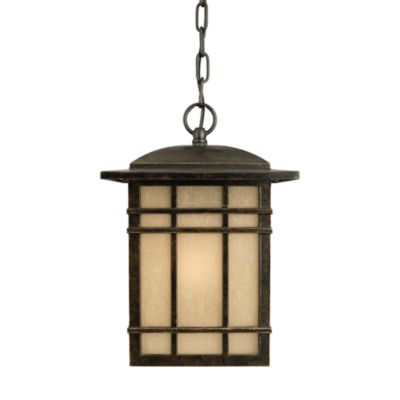 Hillcrest 1-Light Hanging Outdoor Lantern with Imperial Bronze Finish and Opaque Linen Glass