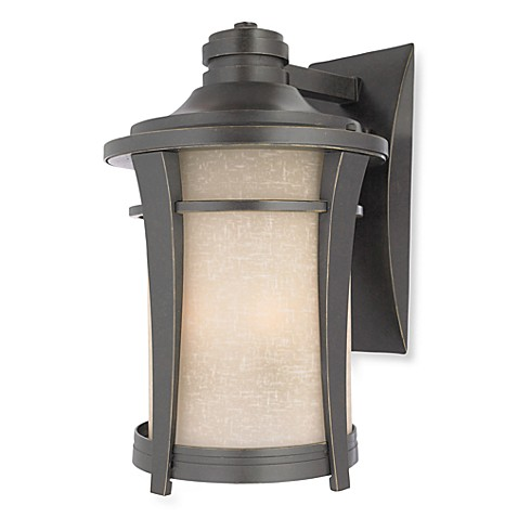 Three Light Harmony Outdoor Light in Imperial Bronze with Cream Linen Glass