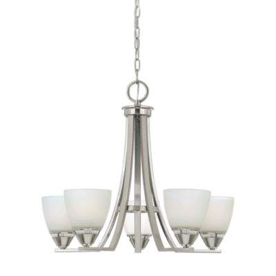 Ibsen Brushed Nickel and Opal Etched Glass Chandelier