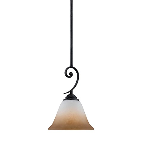 Jennifer Mini Pendant Light With Hartford Bronze Finish and Amber Marble Sunset Glass Shade