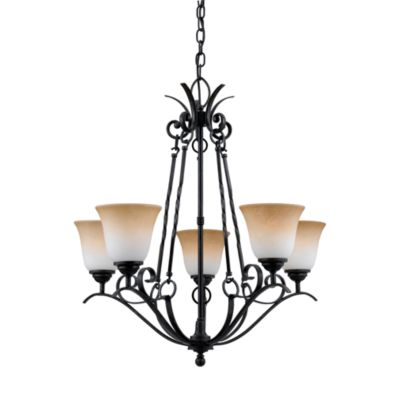 Jennifer 5-Lamp Chandelier with Amber Shades and Hartford Bronze Accents