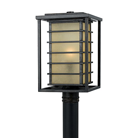 Jonathan Outdoor Post Light Fixture With Marble Glass and Bronze Finishes
