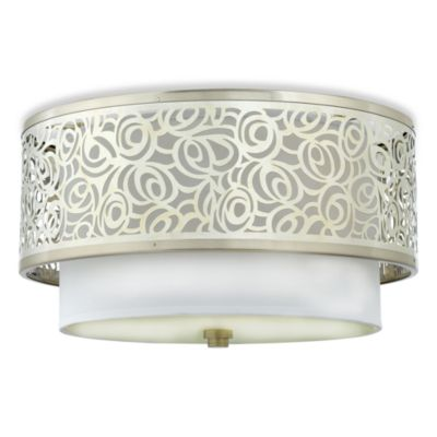 Quoizel® Josslyn 2-Light Flush Mount Light Fixture with White Silk Fabric Shade