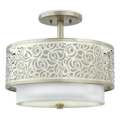 Layered Josslyn Abstract Rose Ceiling Fixture with Semi-Flush Mount and White Silk Fabric Shade